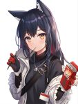 1girl animal_ear_fluff animal_ears arknights bangs black_gloves black_hair black_shirt blush breasts brown_eyes closed_mouth commentary english_commentary eyebrows_visible_through_hair food food_in_mouth fur-trimmed_sleeves fur_trim gloves hair_between_eyes hands_up highres hitsukuya holding holding_food jacket long_hair long_sleeves looking_at_viewer mouth_hold multicolored_hair off_shoulder open_clothes open_jacket red_gloves redhead shirt simple_background small_breasts solo texas_(arknights) two-tone_hair upper_body white_background white_jacket wide_sleeves wolf_ears
