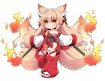 >:) 1girl animal_ears bangs bare_shoulders bell black_leotard blush breasts brown_eyes brown_hair closed_mouth commentary_request copyright_request detached_pants detached_sleeves eyebrows_visible_through_hair fox_ears fox_girl fox_tail full_body gohei hair_between_eyes highres hitodama holding jingle_bell kitsune leotard long_hair long_sleeves medium_breasts multiple_tails naga_u red_footwear short_eyebrows simple_background smile socks solo standing standing_on_one_leg tabi tail thick_eyebrows two_tails v-shaped_eyebrows very_long_hair white_background white_legwear white_sleeves wide_sleeves zouri