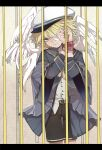 1boy bandage_over_one_eye black_shorts blonde_hair blue_jacket bound bound_wrists cage chinese_commentary cowboy_shot feathered_wings hands_up hat highres in_cage jacket light_frown looking_at_viewer male_focus neikusa oliver_(vocaloid) ringed_eyes sailor_hat shirt shorts vocaloid white_headwear white_shirt wings yellow_eyes