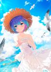 1girl absurdres bird blue_hair blue_sky blush closed_mouth clouds collarbone day dress dutch_angle hair_ornament hair_ribbon hat highres index_finger_raised jewelry looking_at_viewer multicolored_hair natsuki_subaru ocean outdoors pink_hair pink_ribbon re:zero_kara_hajimeru_isekai_seikatsu rem_(re:zero) ribbon ring short_hair sky sleeveless sleeveless_dress smile solo sora_(ecj5678) standing straw_hat sun_hat sunlight two-tone_hair wedding_band white_dress x_hair_ornament