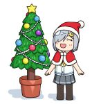 1girl 3toshinhmkz black_legwear capelet chibi christmas_tree closed_eyes commentary_request fur-trimmed_capelet fur-trimmed_headwear fur_trim grey_skirt hair_ornament hair_over_one_eye hairclip hamakaze_(kantai_collection) hat kantai_collection neckerchief pantyhose plant pleated_skirt potted_plant red_capelet red_headwear santa_hat school_uniform serafuku short_hair silver_hair simple_background skirt smile solo standing white_background yellow_neckwear