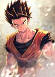 1boy black_eyes black_hair black_shirt closed_mouth collarbone dougi dragon_ball dragon_ball_z frown grey_background looking_at_viewer male_focus mattari_illust medium_hair shirt short_sleeves solo son_gohan spiky_hair v-shaped_eyebrows