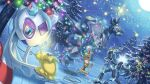 blue_eyes christmas christmas_lights eyelashes froslass gen_2_pokemon gen_4_pokemon gen_5_pokemon gen_7_pokemon holding holding_pokemon joltik light_bulb looking_down luxray mixed-language_commentary moon night no_humans outdoors pokemon pokemon_(creature) red_eyes scrafty scraggy sky snow spareribs standing star_(symbol) steelix tree ultra_beast wire xurkitree yellow_sclera