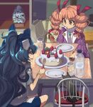 2girls bag bangle blue_eyes blue_hair bottle bow bracelet cake chair christmas christmas_cake christmas_ornaments christmas_tree coat commentary_request drill_hair electric_socket food fork fruit glass hair_bow hair_ribbon half_updo handbag hat hat_bow hat_removed headwear_removed highres holding holding_fork jewelry multiple_girls necklace orange_eyes orange_hair pendant plate ribbon ring shelf shope shopping_bag short_sleeves sitting strawberry stuffed_animal stuffed_cat stuffed_toy table tatami top_hat touhou twin_drills yorigami_jo'on yorigami_shion