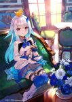 1girl aqua_hair blue_flower blue_legwear boots chair colored_inner_hair couch cup day flower fuzichoco grey_skirt hair_flaps hair_ornament highres holding indoors jacket knee_boots lize_helesta long_hair long_sleeves looking_at_viewer miniskirt multicolored_hair nijisanji official_art on_couch plant pleated_skirt potted_plant rubber_duck saucer sebastian_piyodore sitting skirt smile sunlight teacup thigh-highs thigh_strap two-tone_hair violet_eyes watermark white_flower white_footwear white_hair white_jacket window zettai_ryouiki