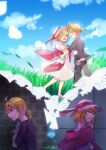 1boy 1girl aryuma772 black_shirt blonde_hair blue_flower blue_rose blue_sky blush commentary countdown crying crying_with_eyes_open day dress field flower glowing grass hat highres holding holding_paper imagining kagamine_len kagamine_rin open_mouth paper pink_dress rose shirt short_hair short_ponytail shuujin/kami_hikouki_(vocaloid) sky smile spiky_hair tears vocaloid