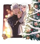appleale19 archer carrying christmas christmas_lights christmas_ornaments christmas_tree dark_skin emiya_shirou fate/stay_night fate_(series) highres illyasviel_von_einzbern princess_carry red_eyes white_hair