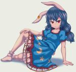 1girl :3 animal_ears arm_support bad_anatomy bloomers blue_dress blue_hair bobby_socks breasts bunny_tail closed_mouth collarbone crescent_print dress ear_ornament eyebrows_visible_through_hair full_body hair_between_eyes hand_on_own_knee highres long_hair looking_at_viewer low_twintails lying on_side puffy_short_sleeves puffy_sleeves rabbit_ears red_eyes seiran_(touhou) short_sleeves simple_background small_breasts socks solo star_(symbol) star_print tail touhou twintails underwear white_background white_legwear zawapirori