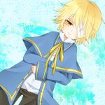 1boy bandage_over_one_eye beamed_eighth_notes black_pants blonde_hair blue_capelet blue_jacket capelet dutch_angle half-closed_eyes jacket light_smile male_focus musical_note neck_ribbon oliver_(vocaloid) pants ribbon shirt staff_(music) taiya vocaloid white_shirt yellow_eyes yellow_neckwear