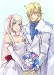 1boy 1girl adapted_costume alternate_hairstyle blonde_hair blue_eyes bouquet breasts bridal_veil cape couple dimitri_alexandre_blaiddyd edelgard_von_hresvelg elbow_gloves eyepatch fire_emblem fire_emblem:_fuukasetsugetsu fire_emblem:_three_houses fire_emblem_16 fire_emblem_heroes flower flower_hair_ornament intelligent_systems kokomi_(k0k0midess) love nintendo parted_lips rose suit violet_eyes wedding wedding_dress white_hair white_suit