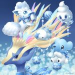 alolan_form alolan_vulpix artist_name bell blue_bow blue_eyes blue_ribbon bow commentary_request cubchoo gen_5_pokemon gen_6_pokemon gen_7_pokemon gen_8_pokemon highres legendary_pokemon looking_at_viewer merry_christmas mouth_hold no_humans nose_bubble pokemon pokemon_(creature) ribbon sasabunecafe smile snom vanillite watermark xerneas