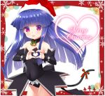 1girl :d angel_mort bangs bare_shoulders bell black_collar black_dress black_sleeves blue_hair bow breasts cat_tail collar commentary_request covered_navel detached_collar detached_sleeves dress eyebrows_visible_through_hair furude_rika gaou hat heart heart_hands heart_in_eye higurashi_no_naku_koro_ni long_hair looking_at_viewer merry_christmas open_mouth red_bow red_eyes red_headwear santa_hat small_breasts smile solo strapless strapless_dress striped striped_bow symbol_in_eye tail tail_bow tail_ornament very_long_hair wing_collar