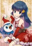1girl bangs belt blue_eyes blue_hair closed_mouth commentary_request dawn_(pokemon) dress elbow_gloves eyebrows_visible_through_hair eyelashes fingerless_gloves gen_4_pokemon gloves hair_ornament hairclip hand_up highres holding holding_clothes holding_scarf long_hair looking_at_viewer pantyhose peron_(niki2ki884) piplup poke_ball_symbol pokemon pokemon_(anime) pokemon_(creature) pokemon_dppt_(anime) red_dress red_gloves sash scarf shiny shiny_hair sidelocks smile snowflakes starter_pokemon striped striped_legwear vertical-striped_legwear vertical_stripes white_legwear white_scarf