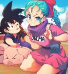 1girl 2boys animal annoyed bare_legs belt black_eyes black_footwear black_hair blue_eyes blue_hair blue_sky blurry blurry_background braid braided_ponytail breasts brown_belt brown_gloves bulma character_name cheek_pull clenched_teeth clothes_writing clouds cloudy_sky day dirt dougi dragon_ball dragon_ball_(classic) dress elbow_rest eyelashes facing_viewer fanny_pack floor frown gloves grin hair_ribbon hand_on_another's_cheek hand_on_another's_face hand_on_another's_head hand_up kneeling large_breasts looking_at_another looking_at_viewer mountain multiple_boys neckerchief ommmyoh one_eye_closed oolong outdoors parted_lips pig pink_dress purple_neckwear red_ribbon ribbon salute shiny shiny_hair short_dress short_sleeves single_glove sky smile son_goku spiky_hair sweatdrop tareme teeth twitter_username v-shaped_eyebrows watch watch wristband
