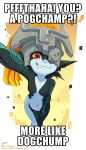1girl black_skin clouds colored_skin english_text fang green_skin helmet highres imp impact_(font) meme midna multicolored multicolored_skin my_little_pogchamp_(meme) navel one_eye_covered orange_hair pixelpulp pointy_ears red_eyes smirk the_legend_of_zelda twilight two-tone_skin yellow_sclera