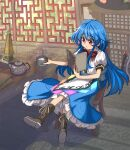 1girl bangs black_headwear blue_hair blue_skirt book boots bow bowtie brown_footwear buttons center_frills cross-laced_footwear crossed_legs cup drink eyebrows_visible_through_hair food frilled_skirt frills fruit full_body hair_between_eyes hat hat_removed headwear_removed highres hinanawi_tenshi holding holding_book holding_cup indoors lace-up_boots leaf long_hair open_book orange_eyes peach puffy_short_sleeves puffy_sleeves rainbow_order reading red_bow red_neckwear shirt shope short_sleeves sitting skirt sword sword_of_hisou table teapot touhou weapon white_shirt