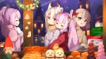 4girls :d :o ame. animal_ears ayanami_(azur_lane) azur_lane bangs black_gloves blush bow braid brown_hair brown_jacket building closed_eyes commentary_request eyebrows_visible_through_hair food fur-trimmed_sleeves fur_trim gloves grey_jacket hair_between_eyes hair_bow hairband headgear hood hood_down hooded_jacket jacket javelin_(azur_lane) laffey_(azur_lane) long_hair merry_christmas mittens multiple_girls night night_sky open_mouth parted_lips pink_hair profile purple_hair rabbit_ears red_bow red_eyes red_hairband red_jacket sky smile star_(sky) starry_sky twintails very_long_hair violet_eyes white_mittens z23_(azur_lane)