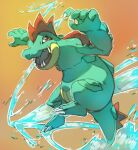brown_background claws commentary creature english_commentary fangs feraligatr full_body gen_2_pokemon jumping looking_at_viewer no_humans open_mouth pinkgermy pokemon pokemon_(creature) simple_background solo water