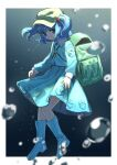 1girl bangs blue_eyes blue_footwear blue_hair blue_skirt boots breasts commentary_request full_body green_headwear hair_ornament hat highres kawashiro_nitori long_sleeves looking_at_viewer shirt short_hair skirt solo suna_(s73d) touhou underwater water