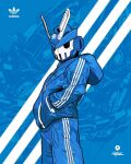 1boy adidas artist_name blue_jacket blue_pants hands_in_pockets highres hood hooded_jacket jacket logo looking_at_viewer official_art original pants quiccs robot science_fiction solo teq63 track_jacket track_pants track_suit v-fin