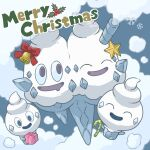 30re bell box candy candy_cane closed_eyes commentary_request food gen_5_pokemon gift gift_box holding holding_gift merry_christmas mouth_drool no_humans open_mouth pokemon pokemon_(creature) red_ribbon ribbon smile snowflakes tongue vanillite vanilluxe