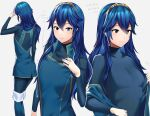 1girl ameno_(a_meno0) blue_eyes blue_hair breasts fire_emblem fire_emblem_awakening grey_background hair_between_eyes long_hair long_sleeves looking_at_viewer lucina_(fire_emblem) simple_background small_breasts smile symbol-shaped_pupils tiara translation_request undressing