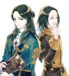 2boys ^_^ black_jacket blue_eyes blue_jacket book closed_eyes commentary_request dual_persona fire_emblem fire_emblem:_three_houses forehead garreg_mach_monastery_uniform green_hair hair_ribbon half_updo hand_up holding holding_book jacket jnsghsi linhardt_von_hevring long_hair long_sleeves looking_at_viewer multiple_boys ribbon simple_background tears upper_body white_background white_ribbon