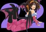 1girl animal_print bangs bat_print boots brown_eyes brown_hair cosplay eyebrows_visible_through_hair hair_ornament haruhisky high_heel_boots high_heels highleg highleg_leotard highres leotard looking_at_viewer looking_back low_twintails lying morrigan_aensland morrigan_aensland_(cosplay) on_stomach pantyhose shiny shiny_skin solo suzumiya_haruhi suzumiya_haruhi_no_yuuutsu twintails wings