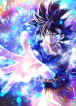 1boy black_hair blue_shirt bruise bruise_on_face closed_mouth collarbone dragon_ball dragon_ball_super grey_eyes injury long_hair male_focus mattari_illust orange_pants outstretched_arm outstretched_hand shirt short_sleeves solo son_goku spiky_hair standing torn_clothes torn_shirt ultra_instinct v-shaped_eyebrows