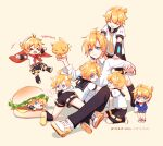 >_< 6+boys alalen arm_warmers artist_name baby bass_clef beige_background bird black_collar black_pants black_shorts blue_eyes blush_stickers bottle bow bowtie cape chick child closed_eyes collar cosplay edogawa_conan edogawa_conan_(cosplay) food frown glasses grin hamburger hand_in_pocket hands_on_another's_shoulders highres kagamine_len leg_warmers lying male_focus meitantei_conan milk_bottle multiple_boys multiple_persona necktie number_print on_stomach pacifier pants red_cape red_neckwear sailor_collar school_uniform shirt short_ponytail short_sleeves shorts sitting smile spiky_hair standing thought_bubble tongue tongue_out v-shaped_eyebrows vocaloid white_shirt yellow_neckwear