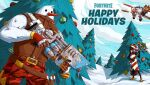2boys aircraft airplane candy carrot christmas christmas_tree clouds decorations fighting fighting_stance food fortnite game_console gloves gun hat highres merry_christmas multiple_boys snow snowman tree video_game weapon