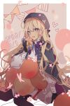1girl absurdres artoria_pendragon_(all) artoria_pendragon_(caster) balloon black_gloves blonde_hair bow bowtie coat fate/grand_order fate_(series) floating_hair gift gloves green_eyes highres long_hair long_sleeves looking_at_viewer open_mouth purple_capelet purple_neckwear simple_background solo staff very_long_hair white_coat yuan_haruka