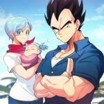 1boy 2girls =3 baby baby_carry black_eyes black_hair blue_hair blue_shirt blue_sky blurry blurry_background bra_(dragon_ball) bulma carrying closed_eyes closed_mouth clouds cloudy_sky collarbone collared_shirt couple crossed_arms day denim dragon_ball dragon_ball_super earrings eyelashes facing_viewer family father_and_daughter frown hair_bobbles hair_ornament happy jeans jewelry looking_at_viewer looking_to_the_side mother_and_daughter multiple_girls muscular neckerchief ommmyoh outdoors palm_tree pants pectorals red_neckwear salute serious shirt short_hair short_sleeves sky sleeping smile spiky_hair tree twintails twitter_username upper_body vegeta very_short_hair white_shirt