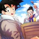 1boy 1girl :d beige_jacket black_eyes black_hair blue_sky blurry blurry_background box breasts chi-chi_(dragon_ball) chinese_clothes close-up clouds cloudy_sky couple day dragon_ball dragon_ball_super earrings eyelashes grey_neckwear hair_bun hand_up high_collar holding holding_box holding_ladle husband_and_wife jacket jewelry ladle light_smile long_sleeves looking_at_viewer looking_to_the_side medium_breasts neckerchief ommmyoh open_mouth outdoors purple_neckwear shaded_face sky smile son_goku spiky_hair tareme teeth twitter_username upper_body upper_teeth