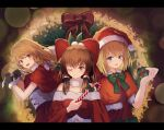 3girls :d ;) alice_margatroid alternate_costume bag blonde_hair blue_eyes blurry blush bokeh bow braid brown_eyes brown_hair candy candy_cane christmas commentary_request depth_of_field dress food green_bow hair_bow hakurei_reimu hat highres holding holding_bag holding_candy_cane kirisame_marisa long_hair looking_at_viewer multiple_girls no_hat no_headwear one_eye_closed ookashippo open_mouth pom_pom_(clothes) red_bow red_dress red_headwear santa_hat short_hair side_braid single_braid smile touhou upper_body white_bow wreath yellow_eyes