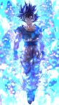1boy bangs black_hair blood blood_from_mouth blue_eyes bruise bruise_on_face clenched_hands collarbone dragon_ball dragon_ball_super full_body grey_shirt hair_between_eyes highres injury long_hair looking_at_viewer male_focus mattari_illust orange_pants shirt short_sleeves solo son_goku spiky_hair torn_clothes torn_shirt twitter_username ultra_instinct