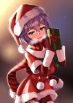 1girl absurdres bernadetta_von_varley bike_shorts blush breath christmas commentary_request eyebrows_visible_through_hair fire_emblem fire_emblem:_three_houses gift grey_eyes gupunetsu hat highres open_mouth pom_pom_(clothes) purple_hair santa_costume santa_dress santa_hat scarf short_hair solo twitter_username