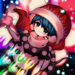 1girl :3 absurdres animal_ears arm_at_side bangs black_capelet black_dress blob blue_eyes blue_hair blurry blush book capelet closed_mouth commentary danmaku doremy_sweet dream_soul dress eyebrows_visible_through_hair from_above glowing hand_up hat highres holding holding_book looking_at_viewer looking_up multicolored multicolored_clothes multicolored_dress nightcap open_hand oversized_clothes pointy_ears pom_pom_(clothes) red_headwear short_hair short_sleeves solo spell_card starry_background tapir_ears touhou turtleneck two-tone_dress white_dress yuka_yukiusa