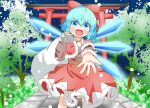 1girl :d alternate_costume bag belt blue_eyes blue_hair bow capelet christmas cirno commentary_request dress eyebrows_visible_through_hair feet_out_of_frame flat_chest hair_between_eyes hair_bow holding holding_bag ice ice_wings koruti looking_at_viewer open_hand open_mouth outstretched_arm pom_pom_(clothes) red_bow red_capelet red_dress santa_costume short_hair smile snowing solo standing torii touhou tree v-shaped_eyebrows wings