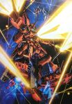 firing floating funnels glowing glowing_eye gundam highres laser looking_ahead mecha mecha_request no_humans one-eyed science_fiction solo_focus space teraoka_iwao zeon