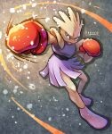 clenched_hands closed_mouth commentary_request full_body gen_1_pokemon highres hitmonchan kagure_(karaguren) knees looking_to_the_side pokemon pokemon_(creature) punching red_eyes solo