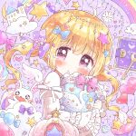 1girl :t ahoge balloon blonde_hair blue_bow bow closed_mouth diary flower frilled_bow frilled_pillow frilled_sleeves frills hair_bow hair_ribbon heart holding holding_pillow key long_sleeves neko_satou original pillow pink_bow pink_eyes purple_ribbon rainbow ribbon solo star_(symbol) tearing_up twintails white_ribbon yume_kawaii