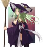1girl broom closed_mouth fire_emblem fire_emblem:_three_houses from_side green_eyes green_hair halloween_costume hat highres holding long_hair looking_to_the_side rhea_(fire_emblem) sakuremi solo witch_hat