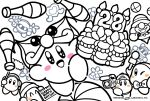 backwards_hat ball balloon_animal baseball_cap beanie blush_stickers boom_microphone bow bowler_hat bowtie cake channel_ppp clown clown_acrobot commentary_request copy_ability food hat headphones heart juggling juggling_club kirby kirby_(series) lineart magolor meta_knight no_humans notepad official_art smile sparkling_eyes spot_color video_camera waddle_dee