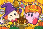 ;) banner basket blue_eyes blush_stickers bow bowtie broom candy castle channel_ppp commentary_request food foorlowber ghost halloween hat invincible_candy kirby kirby_(series) lollipop mumbies_(kirby) official_art one_eye_closed orange_background orange_eyes pumpkin pumpkin_hat red_neckwear simple_background sitting smile striped striped_background tedhaun_jr. waddle_dee witch_hat