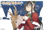 1girl black_hair blue_eyes bow bowtie breasts capelet chiwa_(chiwa0617) fur-trimmed_capelet fur-trimmed_shirt fur_trim green_bow hairband highres kantai_collection long_hair merry_christmas ooyodo_(kantai_collection) red_capelet red_shirt reindeer reindeer_hat semi-rimless_eyewear shirt small_breasts solo striped striped_neckwear twitter_username under-rim_eyewear upper_body white_hairband