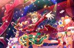 blush brown_hair dress hori_yuuko idolmaster_cinderella_girls_starlight_stage long_hair ponytail red_eyes smile