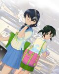 2girls alternate_hair_color arm_up bag bangs black_hair blue_sailor_collar blue_skirt closed_eyes closed_mouth commentary_request dutch_angle expressionless green_eyes green_hair green_ribbon green_skirt headphones highres holding indoors listening_to_music long_hair looking_at_viewer looking_back low_twintails motion_lines motomiki multiple_girls musical_note nemoto_hina pleated_skirt ribbon sailor_collar school_bag school_uniform serafuku shirt short_hair short_sleeves short_twintails shoulder_bag skirt smile speech_bubble spoken_musical_note standing star_(symbol) tamura_yuri twintails watashi_ga_motenai_no_wa_dou_kangaetemo_omaera_ga_warui! watch watch white_shirt younger