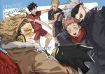 6+boys :d black_hair black_jacket blonde_hair boku_no_hero_academia brown_coat coat feathered_wings gojou_satoru haikyuu!! hand_on_head headphones itadori_yuuji jacket jujutsu_kaisen kadeart kuroo_tetsurou male_focus multiple_boys open_mouth red_wings school_uniform simple_background smile sportswear standing sweatdrop tokoyami_fumikage tsukishima_kei volleyball volleyball_uniform white_hair wings