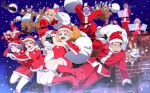 6+boys 6+girls absolutely_everyone alternate_costume animal_costume antlers blue_eyes boots breasts brown_hair character_request christmas colored_skin decadence_(anime) dress everyone facial_hair fei_(decadence) full_moon fur-trimmed_boots fur-trimmed_dress fur-trimmed_gloves fur-trimmed_jacket fur-trimmed_sleeves fur_trim gift_bag gloves goatee hat highres jacket jill_(decadence) jumping kaburagi_(decadence) kurenai_(decadence) long_hair medium_hair moon multiple_boys multiple_girls natsume_(decadence) orange_hair pipe_(decadence) purple_hair purple_skin red_footwear reindeer_antlers reindeer_costume santa_claus santa_costume santa_hat short_hair thighs wakayama_kazuto